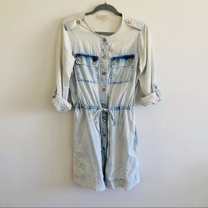 MICHAEL KORS Stone Washed Denim Shirt Dress